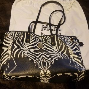 Authentic Mcm Large Zebra Tote Pouch